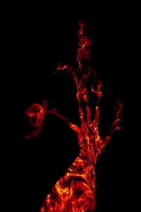 A hand of flames.